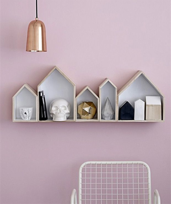 Pale pink, copper, and the cutest little house shelves
