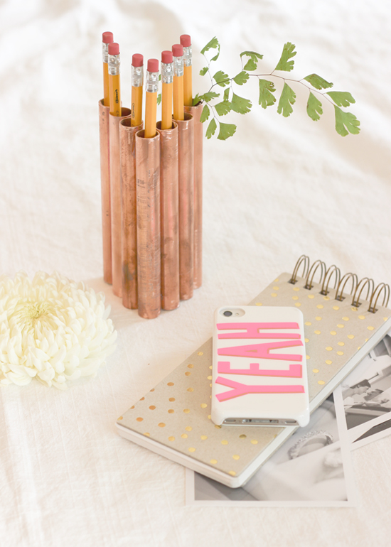 DIY copper pipe pencil holder