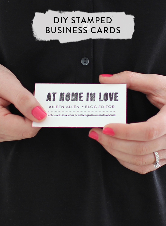 DIY stamped business cards // At Home in Love