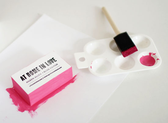 Diy stamped business cards at home in love edge painted business cards reheart