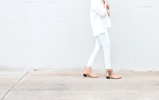 Pale leather booties