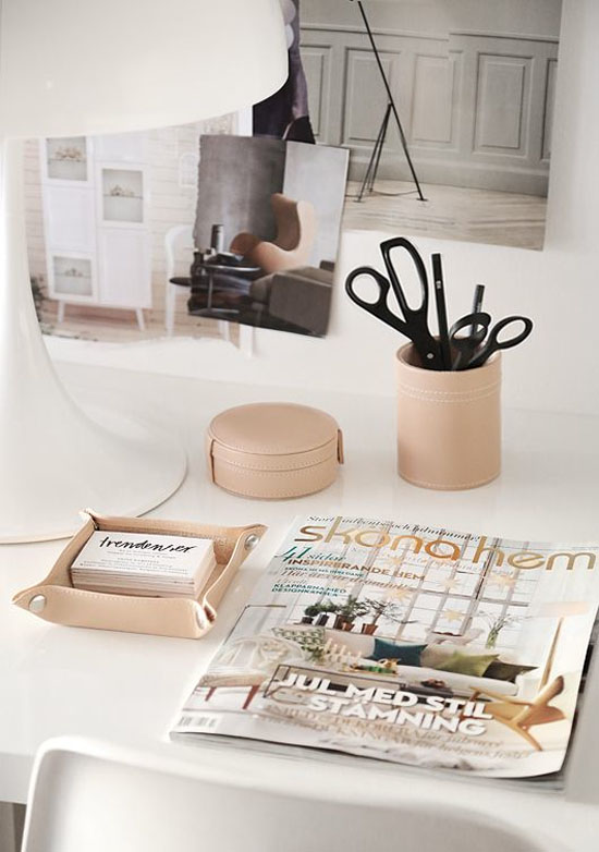 Pale leather office accessories