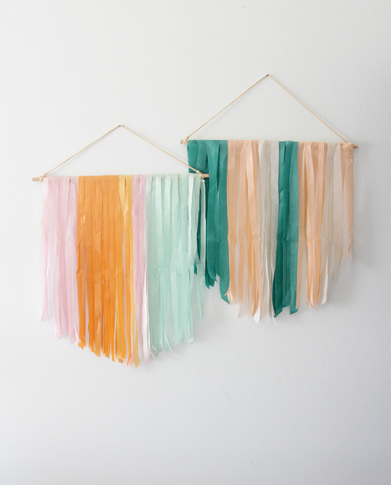 DIY tissue paper wall hangings