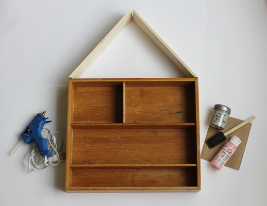 "Turn a flatware organizer into a cute ""house"" to hang on the wall and store craft supplies"