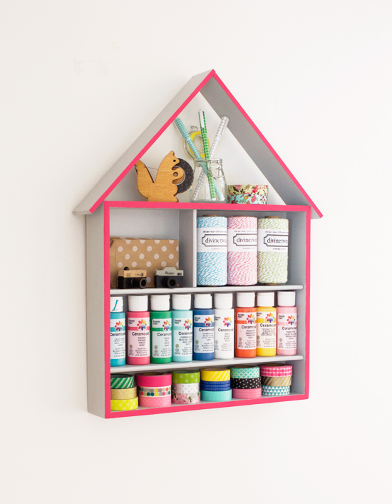DIY craft house -- hang on the wall and display your craft supplies (or nail polish, etc.)