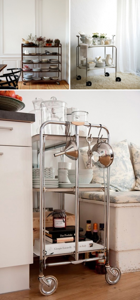No booze? No problem. Use bar carts to store dishes and kitchen supplies instead!