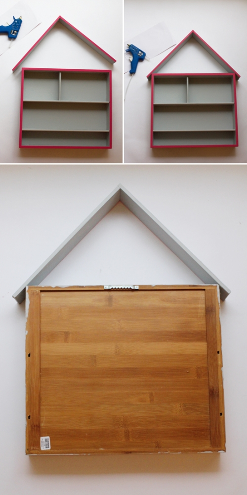DIY craft storage house--made out of a flatware organizer and two pieces of wood