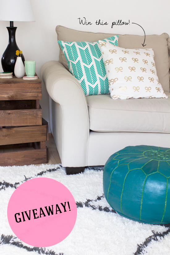 GIVEAWAY! Win a gold bows pillow from Caitlin Wilson Textiles