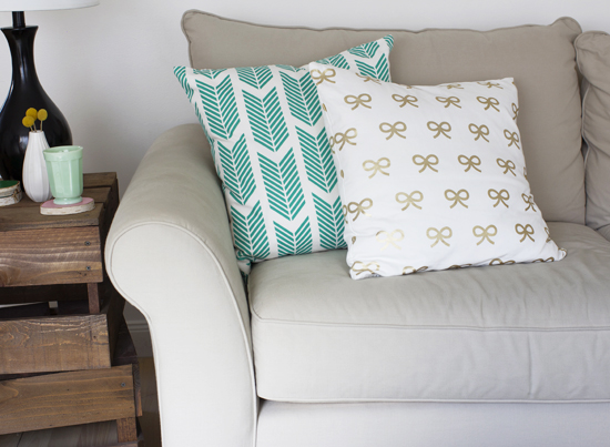 Gold bows pillow from Caitlin Wilson Textiles