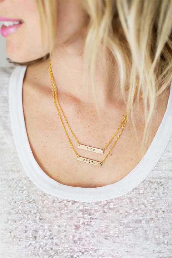DIY bar necklaces with stamped sentiments