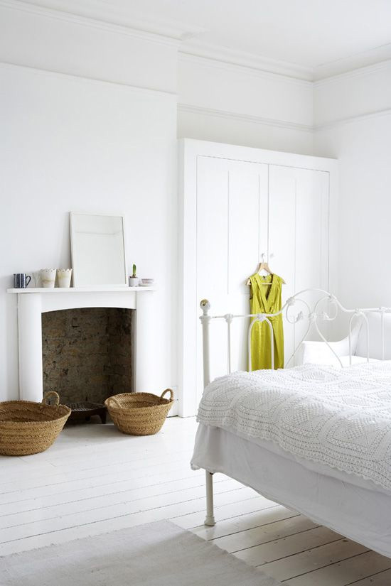 Neutral bedroom, chartreuse dress