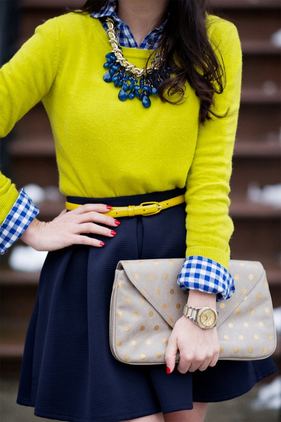 Chartreuse and navy