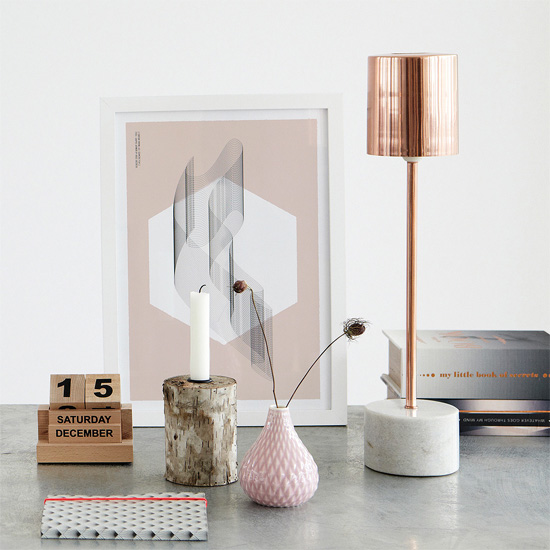 Rose gold and marble lamp