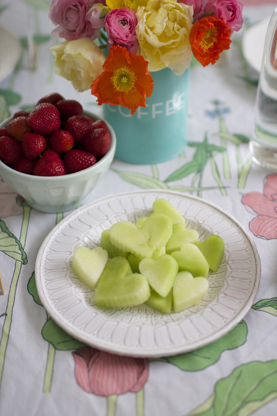 Cut out honeydew with heart cookie cutters