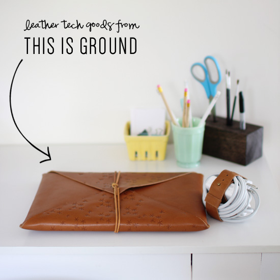Leather tech accessories from This Is Ground // At Home in Love