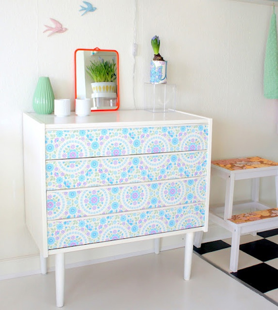 Update A Dresser Or Other Piece Of Furniture With Wallpaper