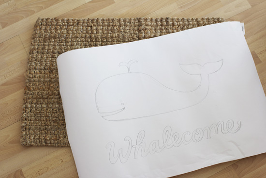 How to paint a plain doormat and add your own design