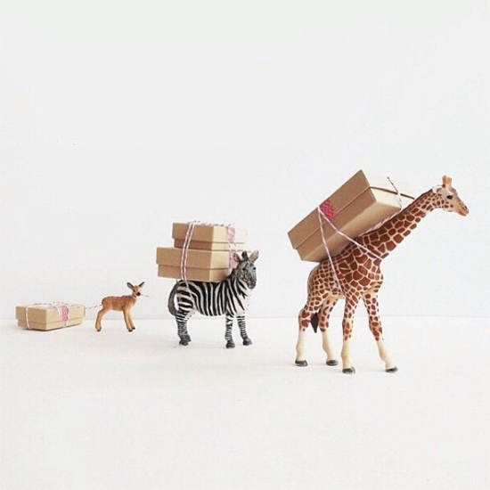 Plastic animals bearing gifts…cute!