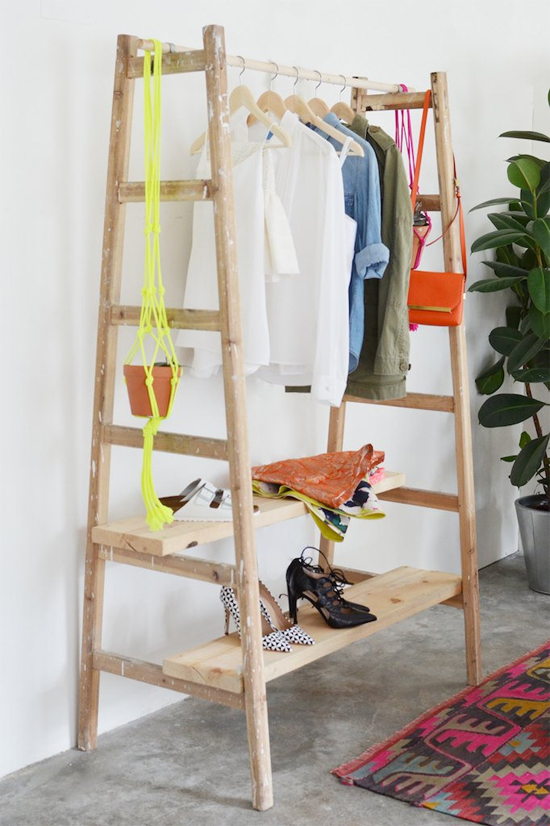 DIY ladder clothing rack