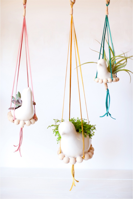 "DIY ""nest"" hanging planters"