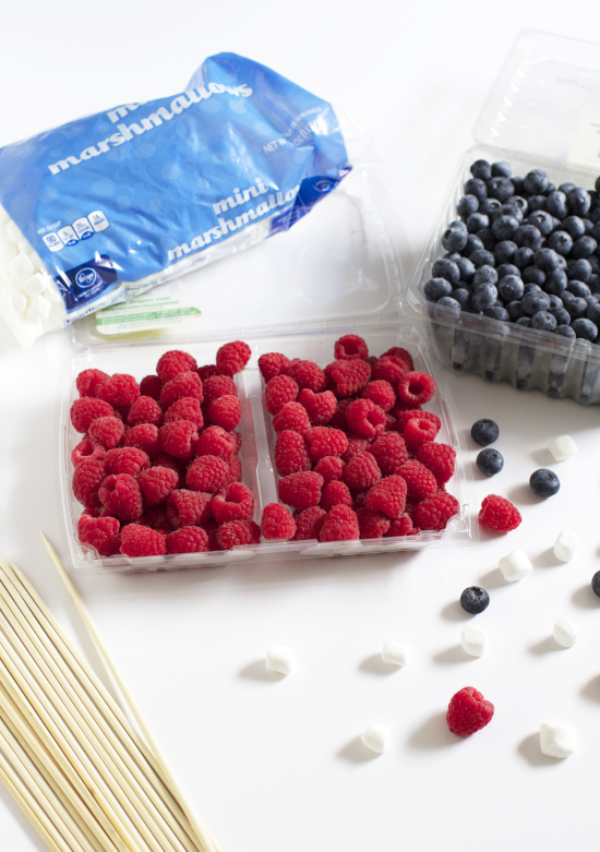 Supplies for American flag berry kabobs