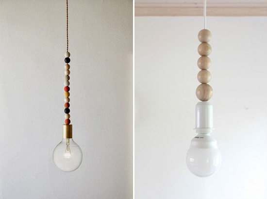 Wood bead pendant lighting