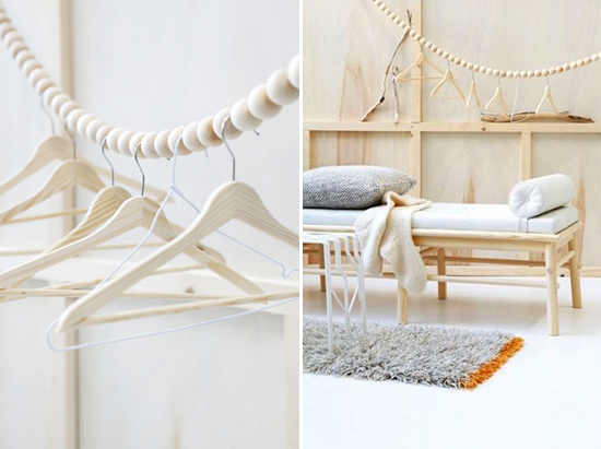 Wood bead clothing racks