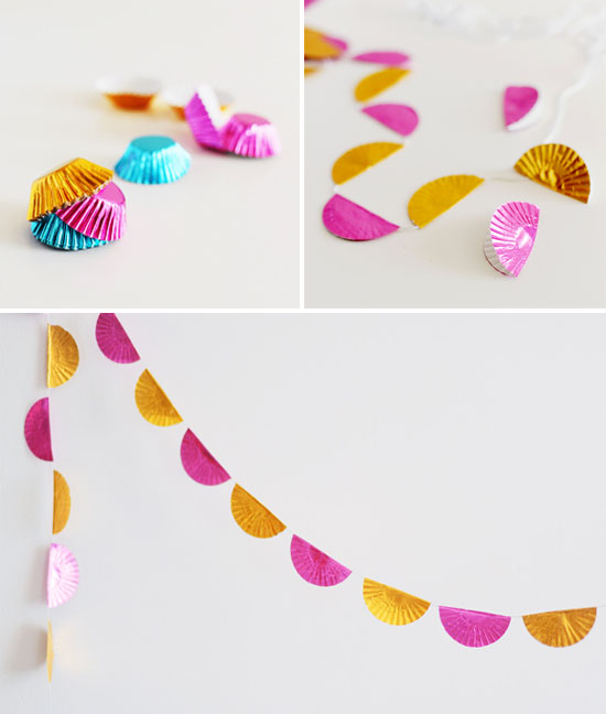 DIY foil cupcake liner garland