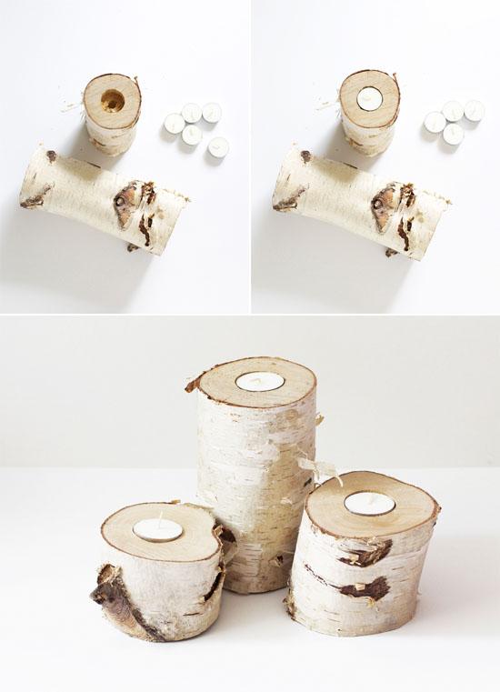 DIY birch log tea light holders