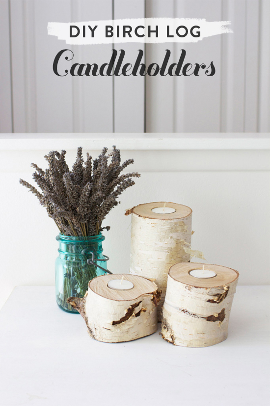 DIY birch log candleholders // At Home in Love