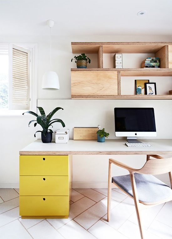Lovely office with a pop of yellow