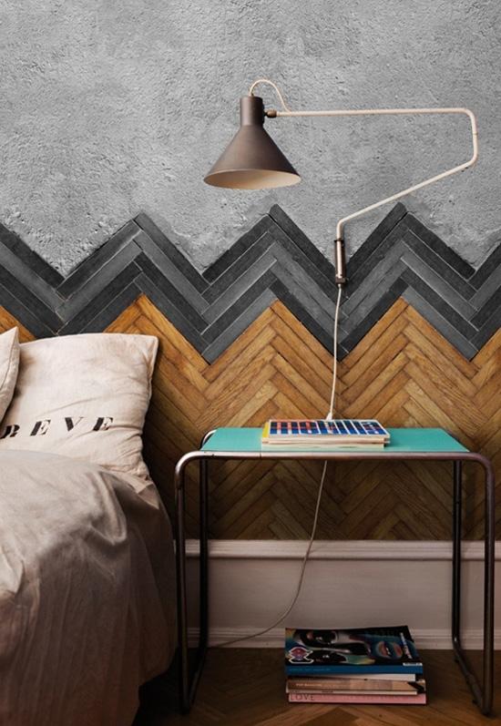 Wood chevron wall