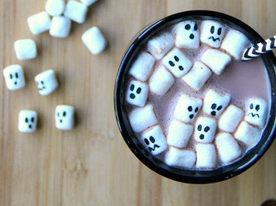 Halloween hot cocoa (use edible food markers to make the faces)