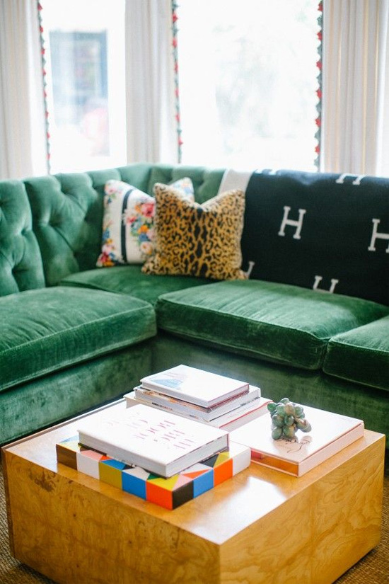 Tufted green velvet sectional