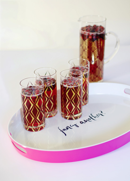 Cranberry fizz recipe + cute glassware and tray