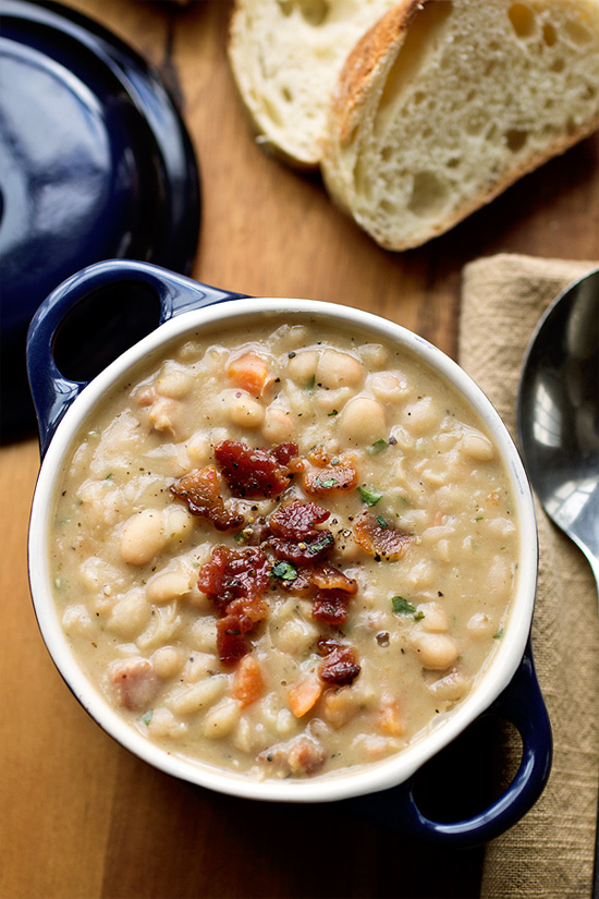 Creamy white bean stew with smoky bacon