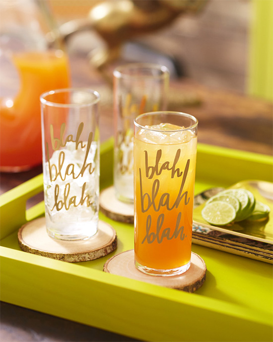 Blah blah blah cocktail glasses