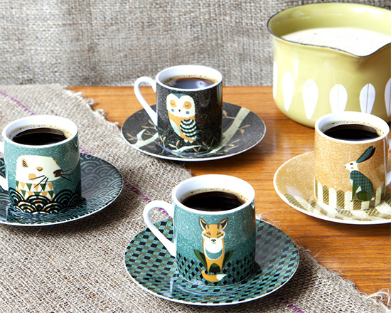 Cute! Wildlife espresso set