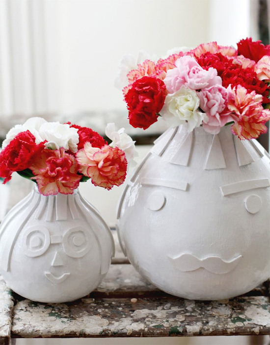 DIY vases with faces