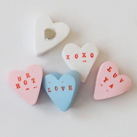 DIY clay conversation heart magnets