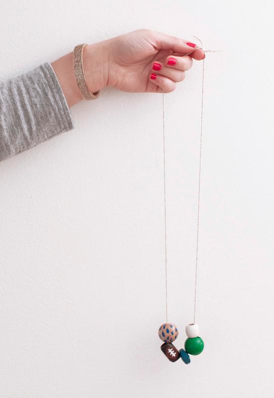 DIY wood bead Seahawks necklace