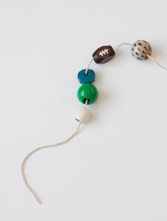 DIY Seahawks wood bead necklace