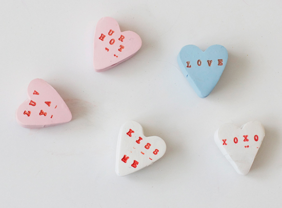 Clay conversation heart magnets