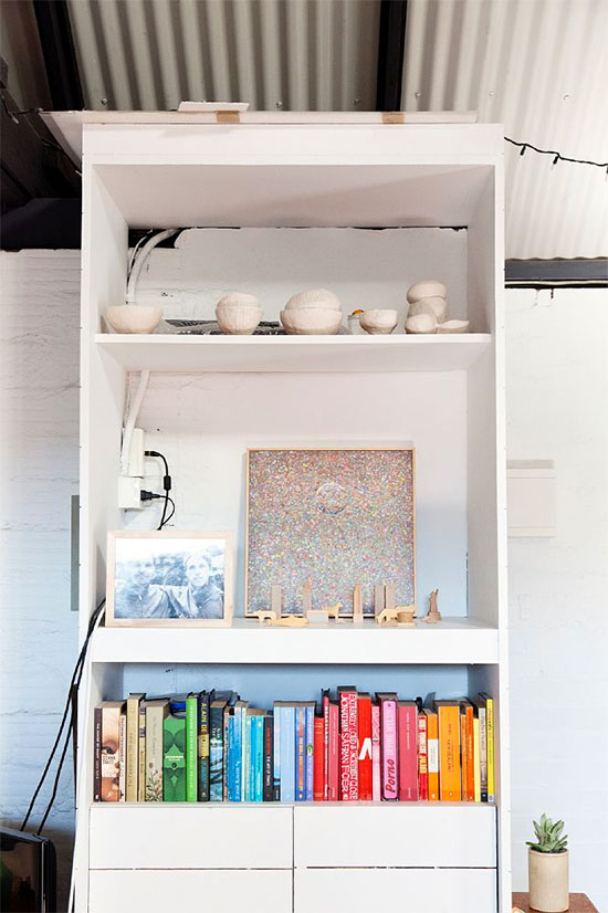 Arranging books by color