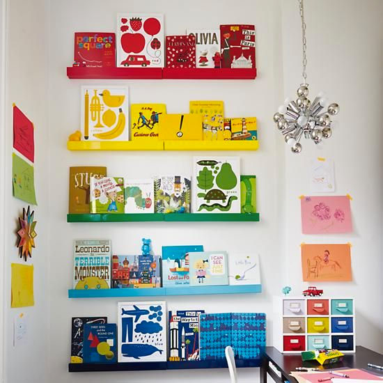 Kid's room with color coded bookshelves