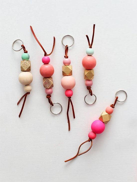 Painted wood bead keychains