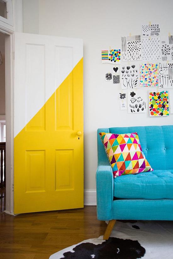 Diagonally painted door