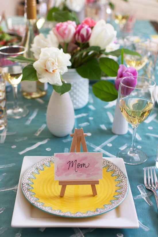 Watercolor placecards on mini wood easels