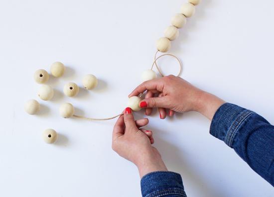 DIY wood bead garland