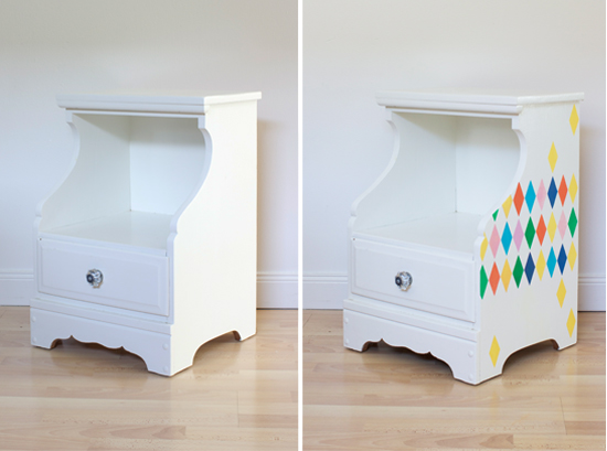 Before and after: Stenciled nightstand